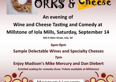 Comedy, Corks & Cheese  September 14, 6pm-9pm